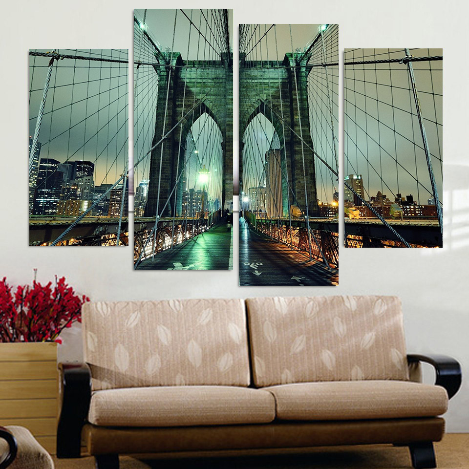 Print Canvas Painting Brooklyn Bridge At Night Wall Art Picture Bar Cafe Home Decoration Living Room Free Shipping XA009 In Calligraphy From