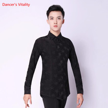 Man Black Dance Shirt Top Latin Dance Cha Cha Rumba Samba Ballroom Dance T Shirts For