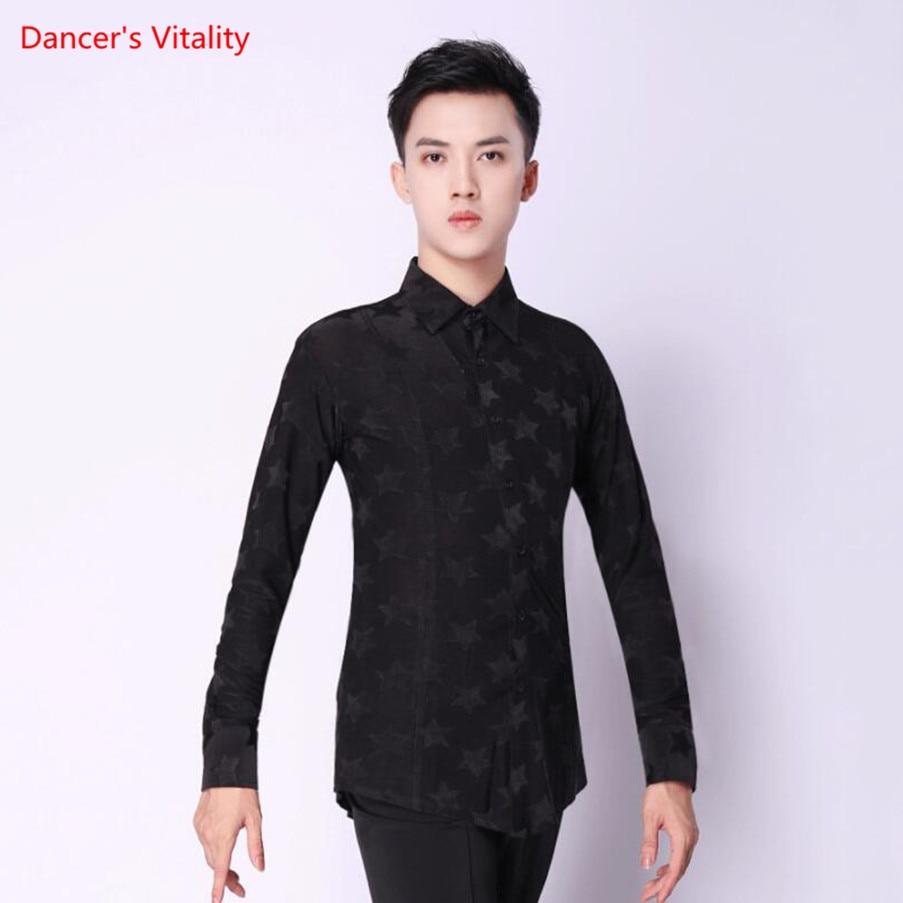 Man Black Dance Shirt Top Latin Dance Cha Cha / Rumba / Samba / Ballroom Dance T Shirts For Practice / Performance Disco Top