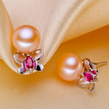 Women Gift word 925 Sterling silver real [bright pearl] natural freshwater pearl earrings, earrings, 925 Silver Butterfly