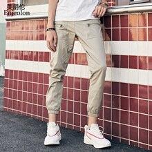 Enjeolon brand new summer long straight trousers pants men fashion sweatpants quality  safari for cool K6612