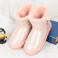 Free Delivery 2017 High Quality 100 Australian Natural Sheepskin Fur Boots With One Pair Of Snow