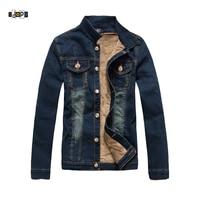 Idopy Men S Winter Denim Jacket With Fleece Lined Warm Thermal Velvet Bomber Jean Jacket And