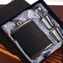 OUSSIRRO Personalized Best Man gift of 7oz black stainless steel hip flask set ,Groom gift, Best man gift with Gift box packing marvis black box gift set