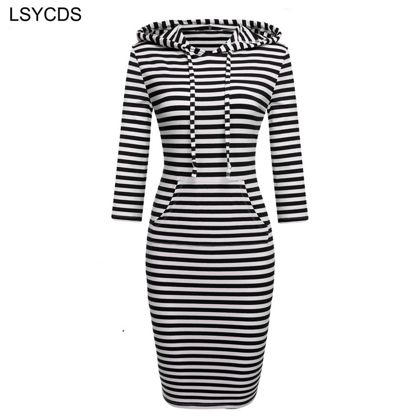 2018 Fashion Women Striped Hoody Hoodie Hooded med lommer Forår Efterår Slid Bodycon Soft Elasticity Casual Pencil Dress
