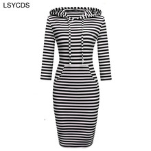 2018 Fashion Women Striped Hoody Hoodie Hooded with Pockets Spring Autumn Wear Bodycon Soft Elasticity Casual Pencil Dress