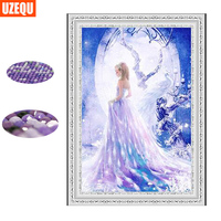 UzeQu 3D Special Shaped Diamond Embroidery Full 5D DIY Diamond Painting Cross Stitch Peacock Fairy Mosaic