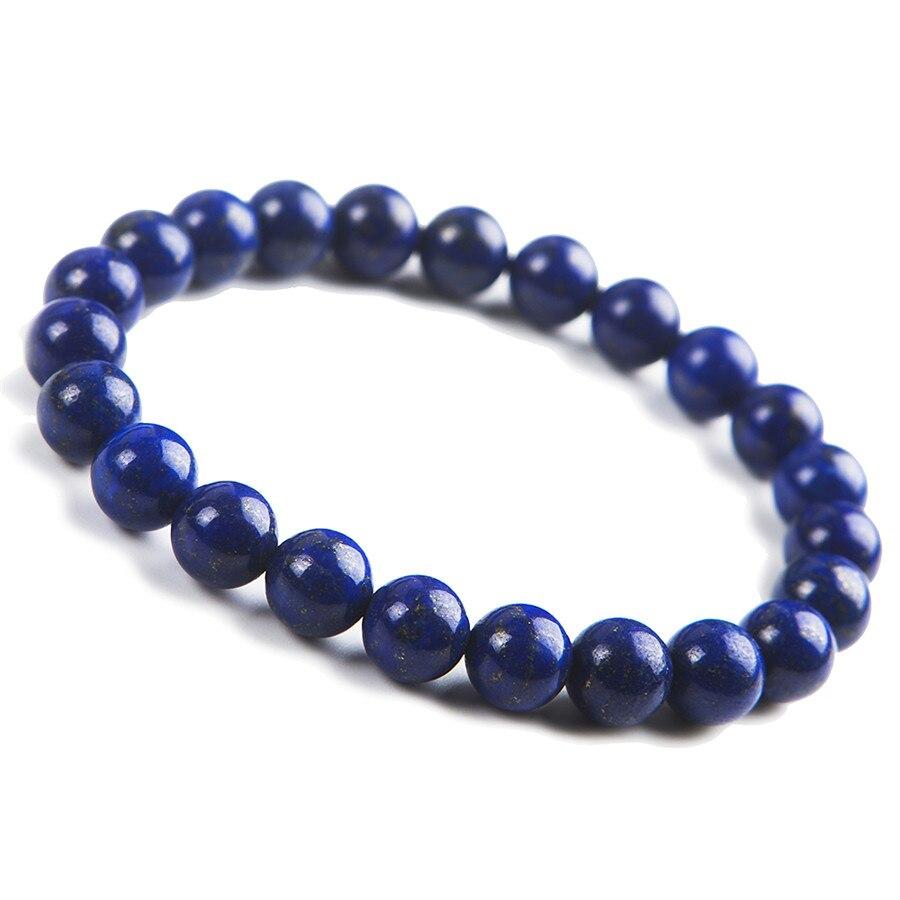 Free Shipping Unique 8mm Natural Lapis Lazuli Bracelet For Women Femme Charm Stretch Crystal Round Bead Bracelet
