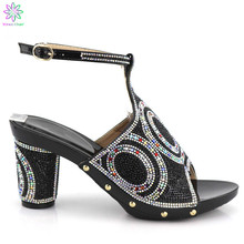 2019 Black Color Super High Heels Shoes African Women Shoes Decorated On 8.5 cm Heels Italian Wedding Shoes