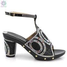 2019 Cor Preta Super Sapatos de Salto Alto Mulheres Africanas Sapatos Decorados Em 8.5 centímetros de Salto Sapatos De Casamento Italiano