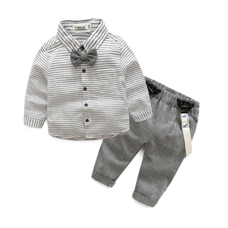Boys clothes striped baby boy clothes shirt with bow and overalls grey color baby clothes mini gentleman baby vestido