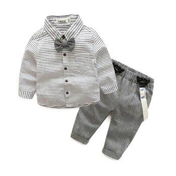 Ropa para niños a rayas, ropa para bebés, camisa con lazo y monos, ropa de bebé de color gris, mini vestido de bebé para caballero