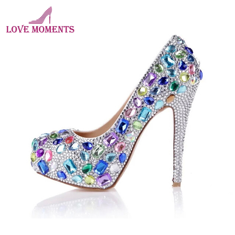 Blue Pink Yellow Multicolor Bling Wedding Bridal Shoes Platforms Round Toe Ladies Valentine Shoes Party Prom High Heel ShoesBlue Pink Yellow Multicolor Bling Wedding Bridal Shoes Platforms Round Toe Ladies Valentine Shoes Party Prom High Heel Shoes