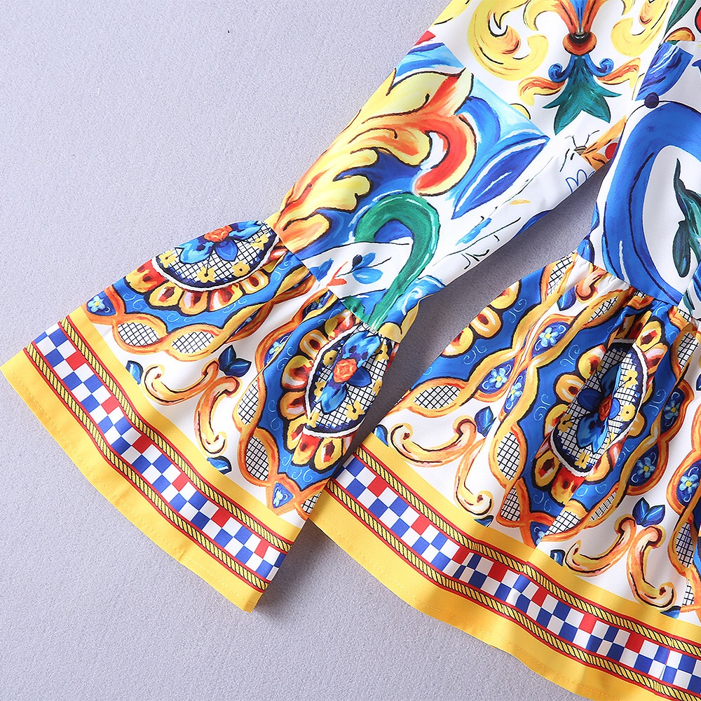 Gloria Traje Alta Grace Primavera Flores amp; Arco Elegante Estampado De Haute Costura 2019 Patrón Porcelana Baldosas Suelta Floral Xl Sicilia Manga 5BgqH5Tn