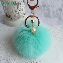 Starry-Styling Candy Color Faux Rabbit Fur Ball Key Chains Car Key Ring Pendant Handbag Charm Keychain Delicate Gift 2017