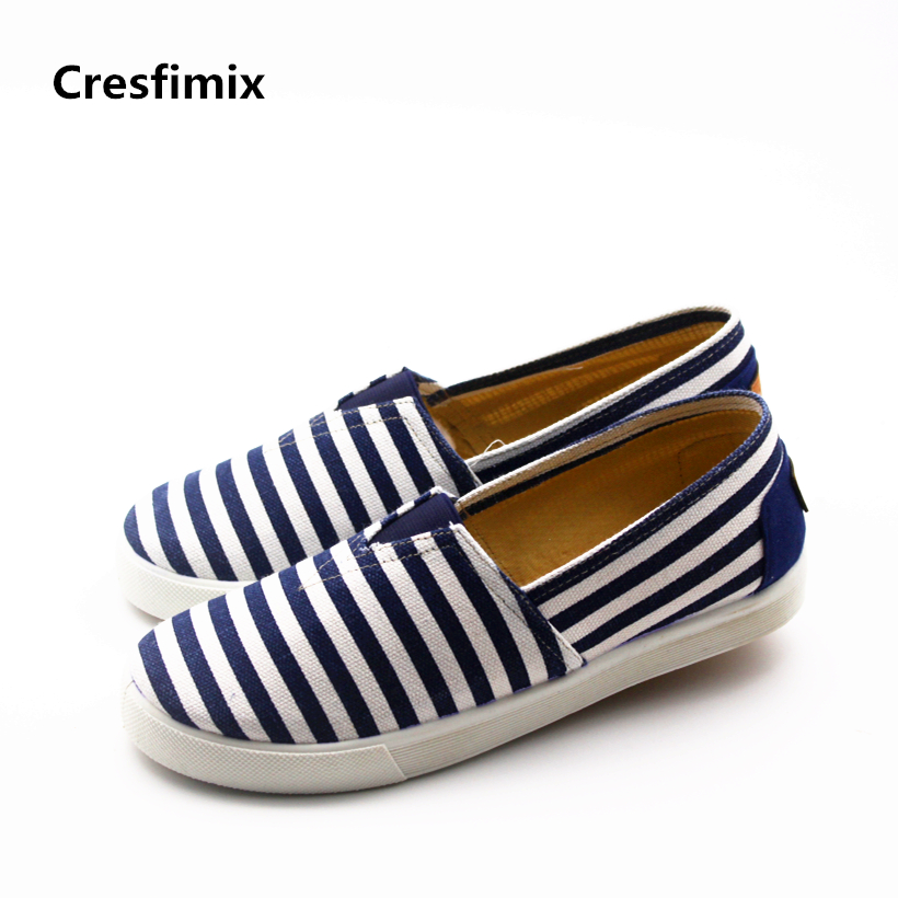 Cresfimix chaussures pour femmes women cute spring & summer slip on canvas flat shoes lady comfortable striped shoes cool shoes cresfimix women cute spring