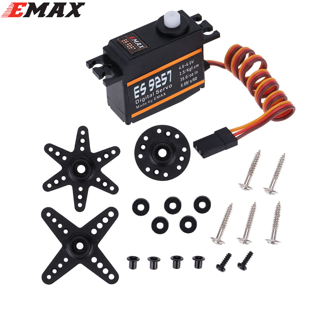 1pcs EMAX ES9257 Plastic Digital Bearing Micro Tail Servo for RC Align Trex 450 Helicopter 1pcs rc micro servo 9g sg90 servo for arduino aeromodelismo align trex 450 airplane helicopters accessories