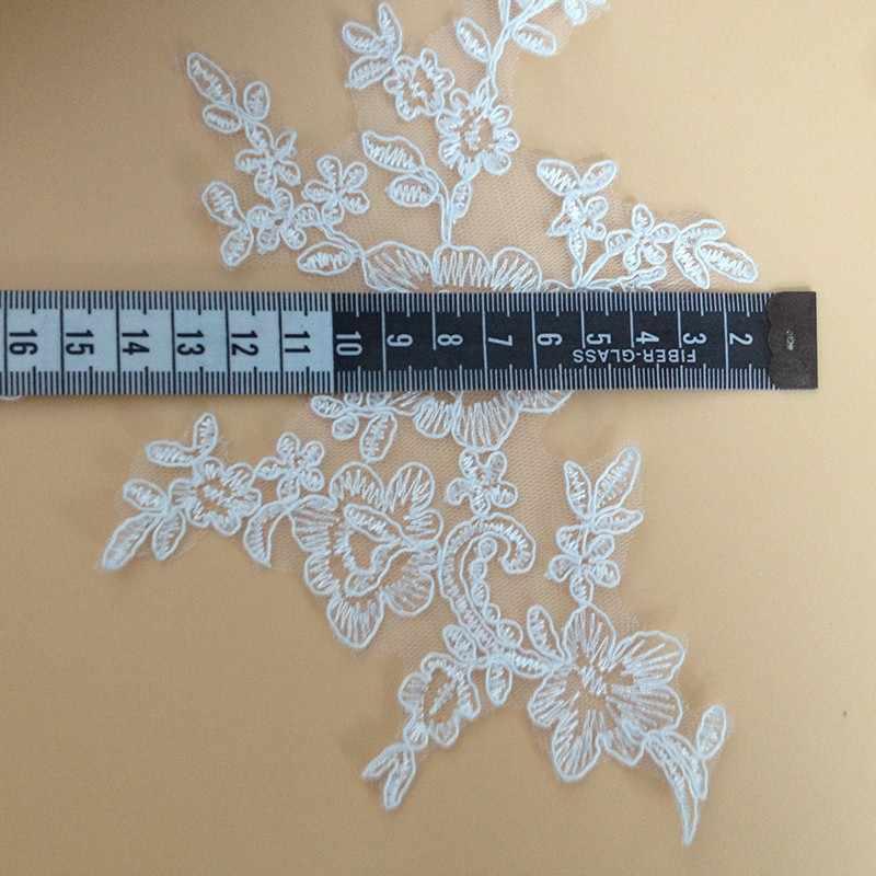 2 stuks Nieuwe Witte Mooie Geborduurde Polyester Applique Guipurekant Trim Voor Trouwjurk Gratis Verzending