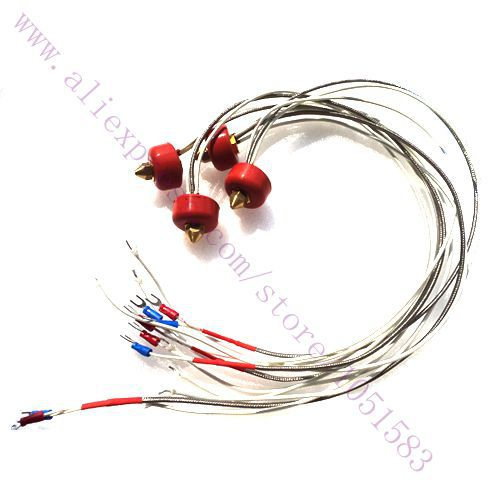2pcs 3D Printer Thermocouple Heating Printhead Kit K-type Thermocouple Extruder- 0.2/0.3/0.4/0.5mm Nozzle/12V/24V Optional