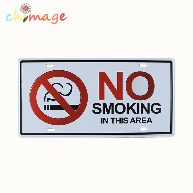 NO SMOKING IN THIS AREA CAR LICENSE PLATE Vintage Tin Sign Bar pub home KITCHEN Wall Decor Retro Metal Art Poster