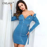 Women Denim Dress Long Sleeve Blue Metal Zip Belt Slim Fit Off The Shoulder Strapless Dress Short Female