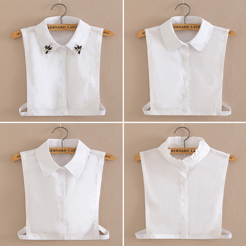 Fashion Solid Shirt Fake Collar Tie Vintage Detachable Collar False Collar Lapel Blouse Top Women Clothes Accessories