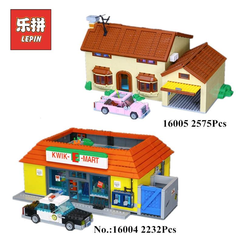 цена на IN STOCK Lepin 16004 16005 The Simpsons Bart Homer the Kwik-E-Mart Legoings Model Building Block Bricks Compatible 71016 71006