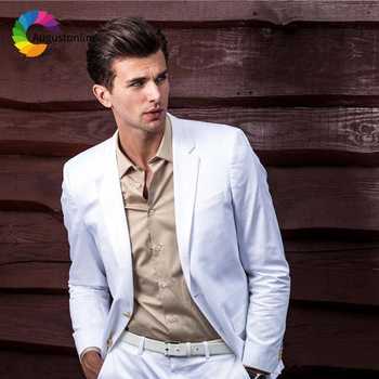 Slim Fit White Men Suits Summer Wedding Groom Wear Tuxedos 2 Pieces (Jacket+Pants) Bridegroom Prom Suits Best Man Blazer beige slim fit wedding suits groom tuxedos 2 pieces jacket pants bridegroom men suits best man blazer prom wear
