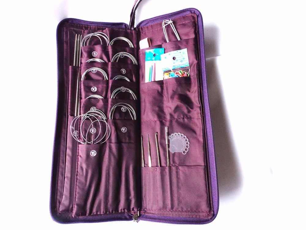104 шт. прямые спицы из нержавеющей стали, круговые спицы, спицы для вязания крючком, набор тканых игл с сумкой, наборы игл для шитья