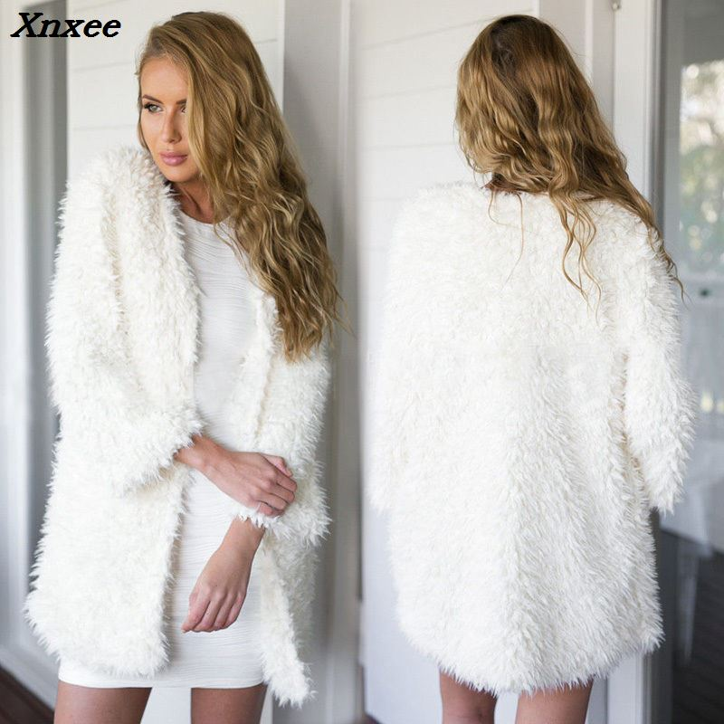 2020 New Winter Autumn Women's Clothes Fluffy Shaggy Faux Fur Cardigan Whit Color Slim Long Warm Outwears Sweaters Xnxee