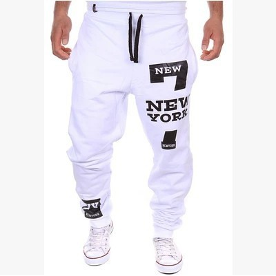 Men's Pants Trousers Men Hip Hop Joggers Baggy Harem Cool Pants Homme Printed New York Lucky 7 Sweatpants men K03
