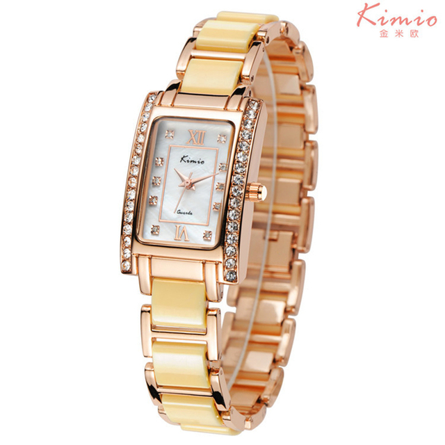 Fashion Brand Kimio Dress Women Bracelet Watch For Diamond Ceramic Stainless Steel Rectangle Quartz Watches Relogio Feminino