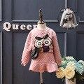 Весна осень новых детей девочек одежда Мода набор Сова аппликация рукавом толстовка топы + середина юбки устанавливает 2 шт. костюмы