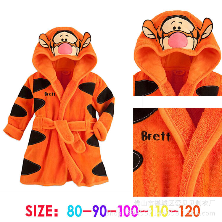 Hooded Long-sleeved Robe Flannel Pajamas Cartoon Animal Piece Tracksuit Boy And Girls Kid Pyjamas Children Winter Nightgown