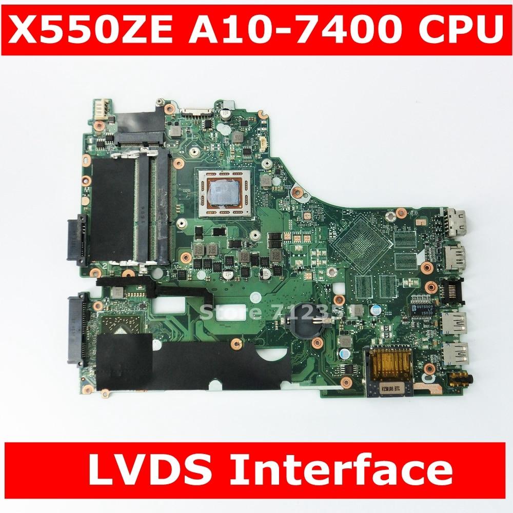 X550ZA A10-7400 CPU Mainboard for ASUS X550ZA X550ZE X550Z X550 K550Z X555Z VM590Z Laptop Motherboard LVDS GM Test OKX550ZA A10-7400 CPU Mainboard for ASUS X550ZA X550ZE X550Z X550 K550Z X555Z VM590Z Laptop Motherboard LVDS GM Test OK