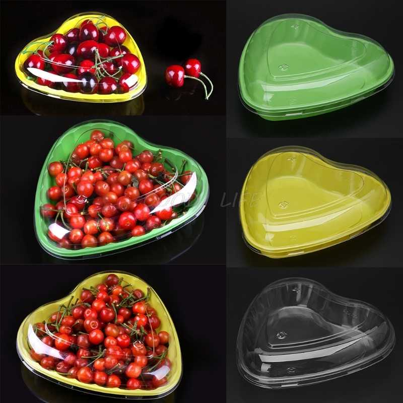 Disposable Plastic Heart Shape Strawberry Chocolate Food Container Box With Lids