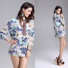 2017 Vintage Casual Chiffon Beach Tropical Summer Style Dress Femininas Fashion Print Vestidos De Festa Women Dress
