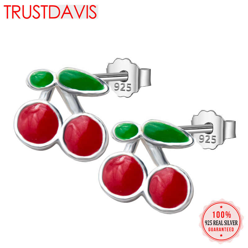 Trusta 2018 Womens Fashion 925 Sterling Silver Fashion Tiny Cute Sweet Cherry 6mmX7mm Stud Earrings Girls Kids Lady Gift DS168