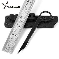 KKWOLF mini camping survival palec breloczek nóż narzędzie czarny kamień do prania T głowy obrońców i staje w sytuacji sam kieszeń prosto nóż taktyczny EDC narzędzia w Noże od Narzędzia na