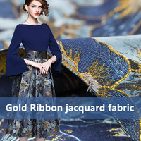 1Meter/Lot Gold Ribbon Jacquard Fower Fabric Two Side Can Make Cloth Yard Dyed Brocade Fabric Sewing Clothes Dress 160cm Blue
