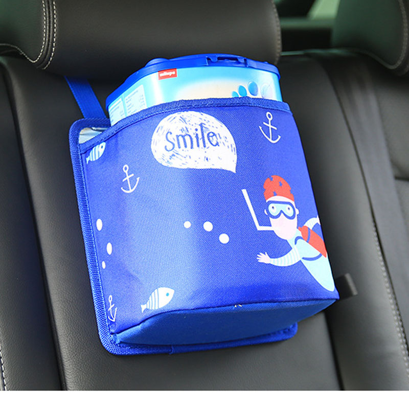 Cartoon Car Seat Back Bag Cute Baby Stowing Tidying Auto Rubbish Dustbin Wateproof Bag TrashAuto Accessories Car Organizer Y1