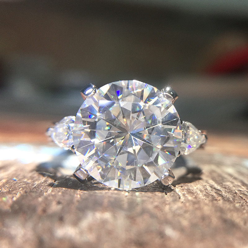 Round Moissanite Engagement Ring 5 to 8 carat DF Colorless Lab Diamond Accent Pear Stones 14K