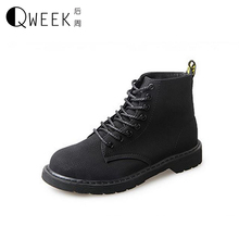 QWEEK 2017 Women Boots British Style Pu Leather Round Toe Autumn/winter Flats Lace Up Rubber Sole High Top Lace Up Martin Boots