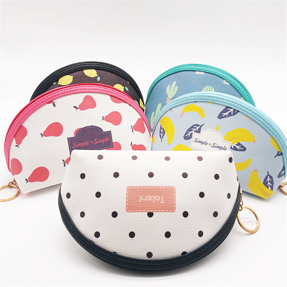 Zipper Pu Leather Women Cosmetic Cases Makeup Bag Floral Multicolor Toiletry Storage Pouch Portable Lady Travel Wash Bag