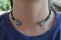 1pc Unique Personalized Norse Viking Thor S Hammer Beads Choker Necklace With 5 Viking Rune Beads