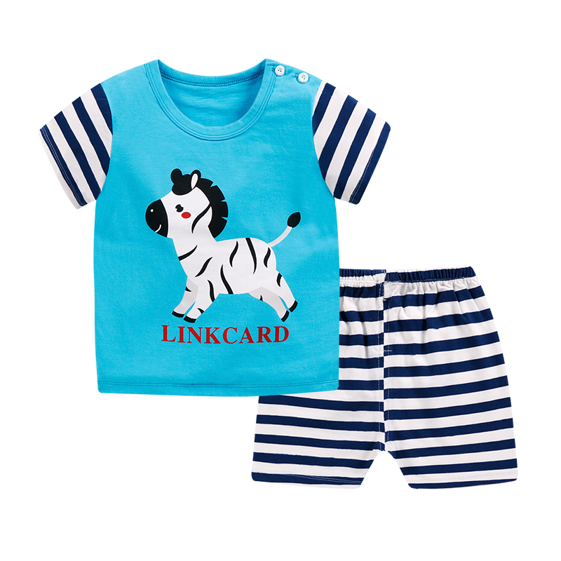 2019New Infant Boys Girls Summer Cartoon Cotton Striped T Shirt Shorts Suit Clothing Sets 2pcs Sets Children Kids Clothing Set in Clothing Sets from Mother Kids