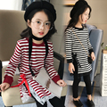 2017 spring and autumn hot fashion children's cotton T-shirt girls 4-11 striped split long bow self-cultivation bottoming