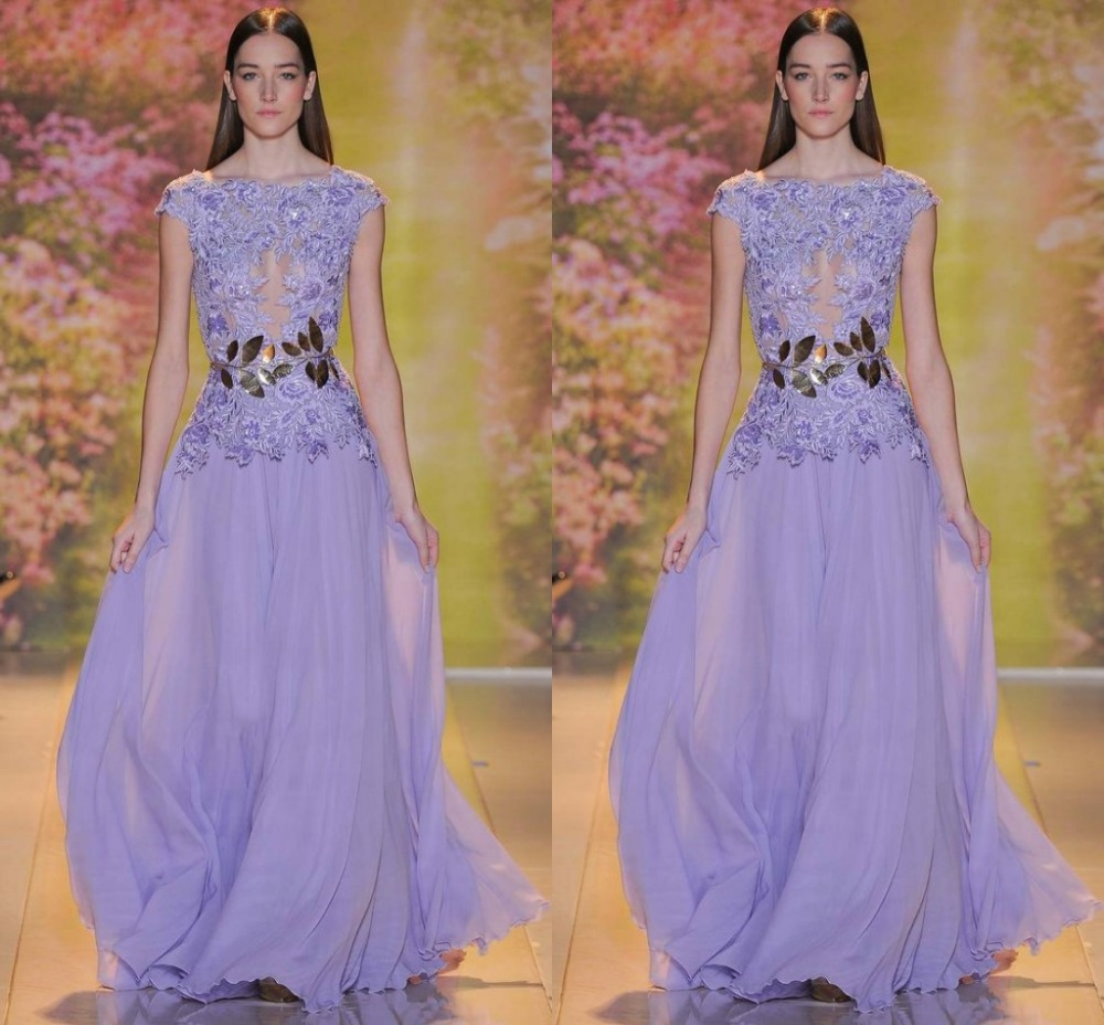 Lavender Evening Gown Boat Neck Chiffon Evening Dress Appliques ...