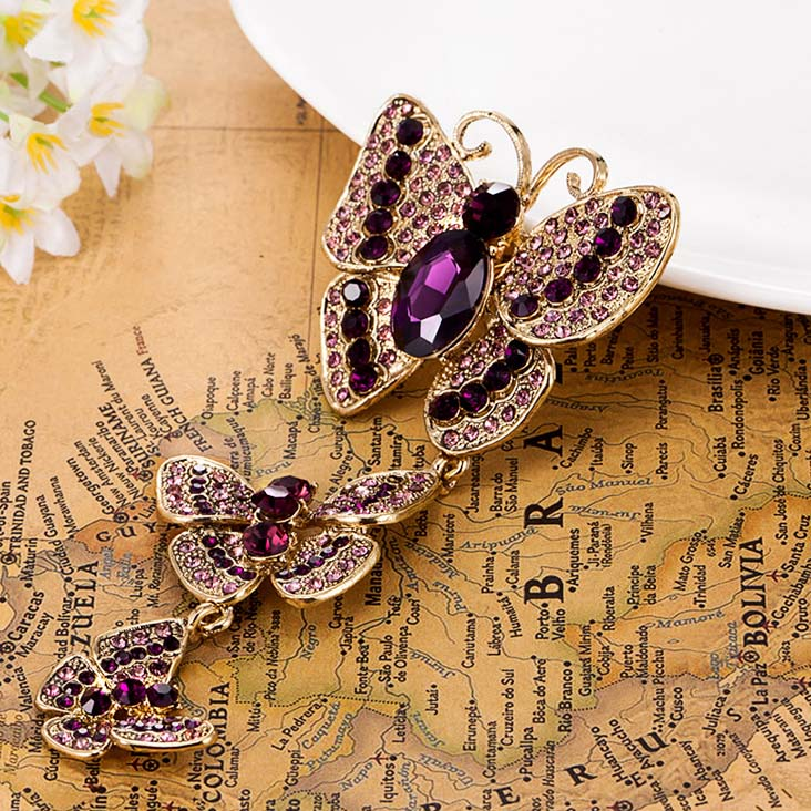 Very Nicely Butterfly Brooch Pin Fine Women s Hijab Accessories Noble Antique Gold Plated Austrian Crystal