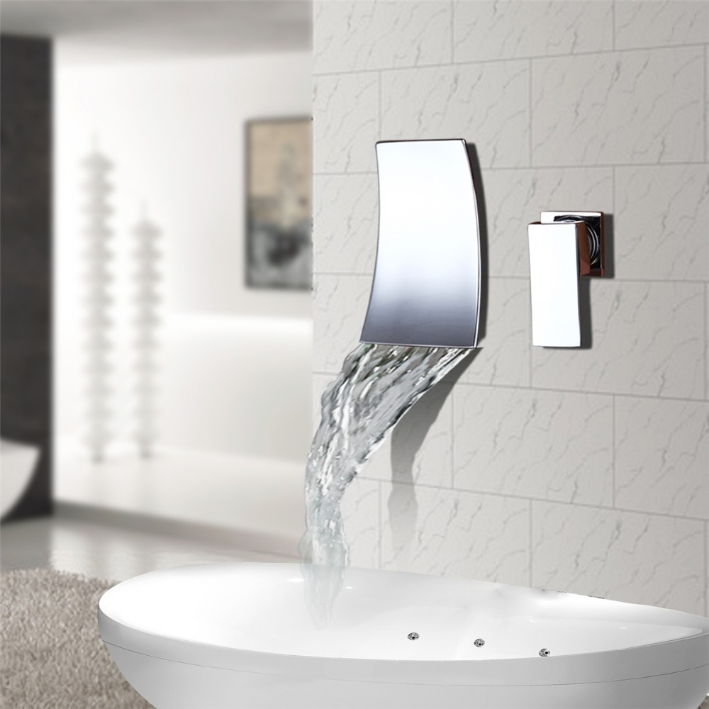 Bathroom Waterfall Wall Mounted Basin Sink Faucet Mixer Tap Chrome Finish Brass Spout Vanity Sink Mixer Tap grey red beige blue embroidery logo car seat cover front